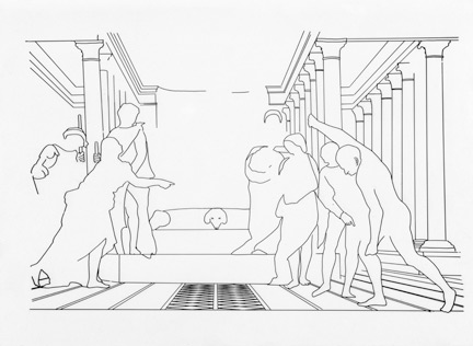 Technical drawing showing the third phase of the composition of Sebastiano del Piombo's 'The Judgement of Solomon'.