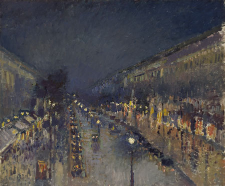 Camille Pissarro: 'The Boulevard Montmartre at Night'