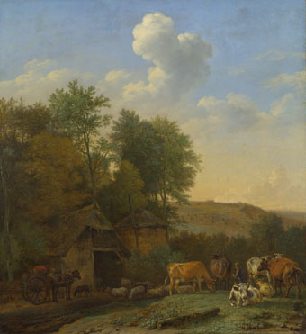 Paulus Potter: 'A Landscape with Cows, Sheep and Horses by a Barn'