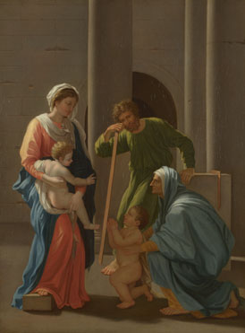 After Nicolas Poussin (?): 'The Holy Family with Saints Elizabeth and John'