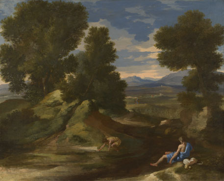 Nicolas Poussin: 'Landscape with a Man scooping Water from a Stream'