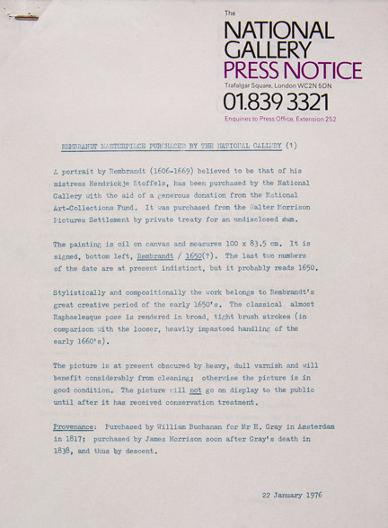 Press releases from 1976 from National Gallery