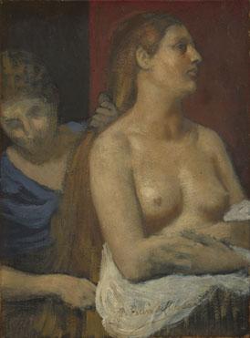Pierre-Cécile Puvis de Chavannes: 'A Maid combing a Woman's Hair'