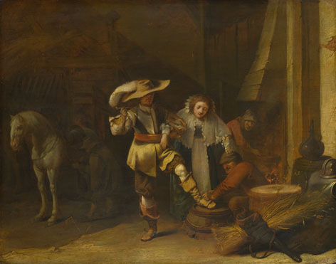 Pieter Quast: 'A Man and a Woman in a Stableyard'
