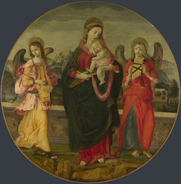 Workshop of Raffaellino del Garbo: 'The Virgin and Child with Two Angels'