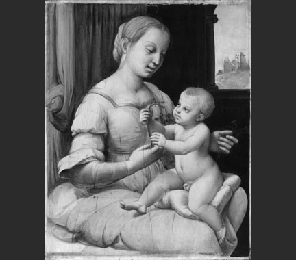 Infra-red Reflectogram of Raphael, 'The Madonna of the Pinks ('La Madonna dei Garofani')', about 1506-7