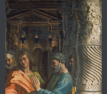 Raphael: Detail showing the light on the Solomonic columns, with the Holy of Holies in the background, from 'The Healing of the Lame Man'.