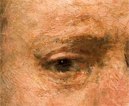 A detail showing the paint texture from Rembrandt, 'Self-Portrait at the age of 63', 1669