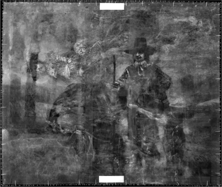 An X-ray image of Rembrandt, 'Portrait of Frederick Rihel on Horseback', probably 1663. A standing figure, not visible when viewed under normal light, can be observed when the X-radiograph is rotated anti-clockwise by 90°.