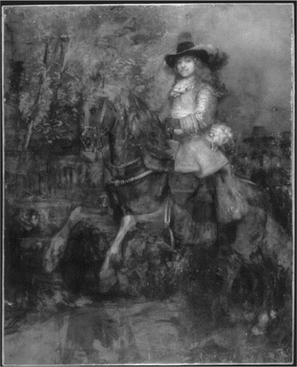 An infrared image of Rembrandt, 'Portrait of Frederick Rihel on Horseback', probably 1663