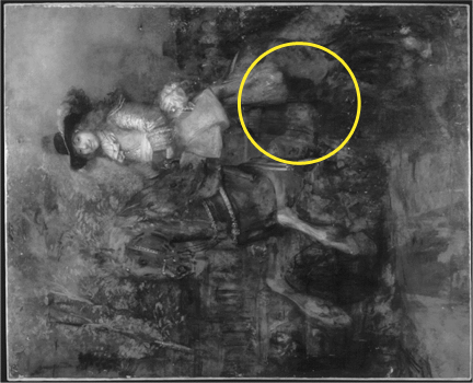 An infrared image of Rembrandt, 'Portrait of Frederick Rihel on Horseback', probably 1663, rotated anti-clockwise by 90.