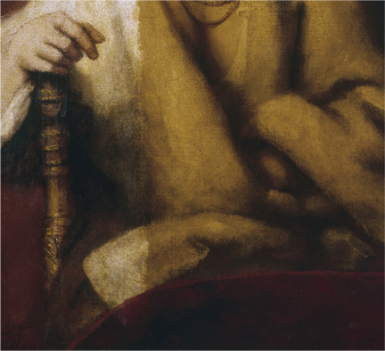 Detail of Rembrandt, 'Portrait of Hendrickje Stoffels', 1654-6, during cleaning