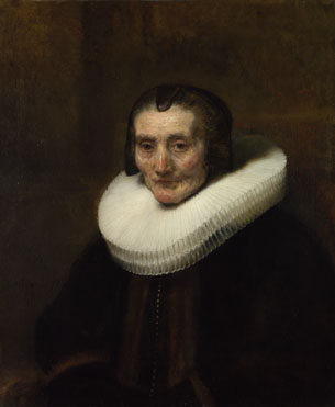 Attributed to Rembrandt: 'Portrait of Margaretha de Geer, Wife of Jacob Trip'
