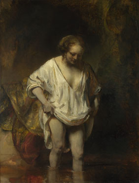 Rembrandt: 'A Woman bathing in a Stream (Hendrickje Stoffels?)'