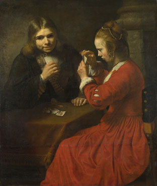 Follower of Rembrandt: 'A Young Man and a Girl playing Cards'