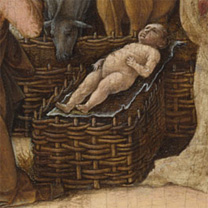 Ercole de' Roberti: Detail showing the woven hurdles and rigid Christ Child from 'The Nativity'.