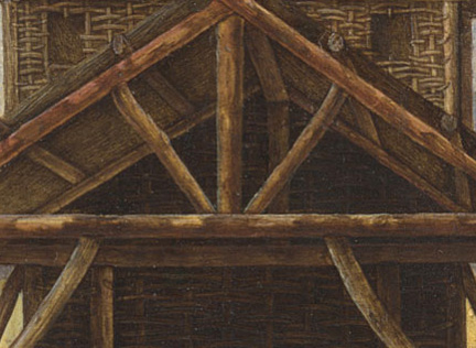 Ercole de' Roberti: Detail showing the structural supports of the stable from 'The Nativity'.