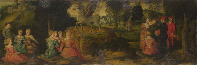 Attributed to Girolamo Romanino: 'Pegasus and the Muses'
