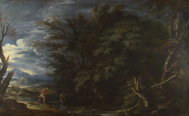 Salvator Rosa: 'Landscape with Mercury and the Dishonest Woodman'