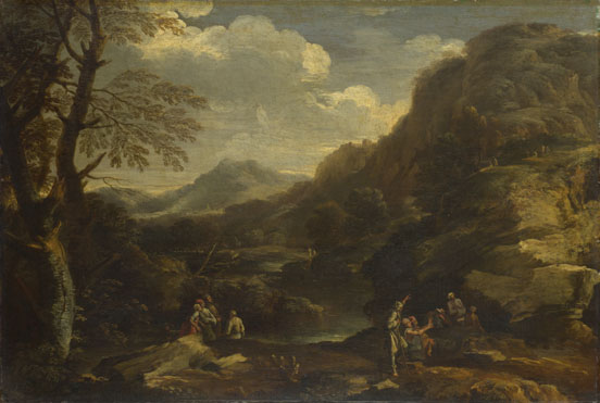 Style of Salvator Rosa: 'Mountainous Landscape with Figures'