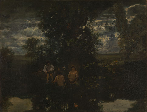 Attributed to Théodore Rousseau: 'Moonlight: The Bathers'