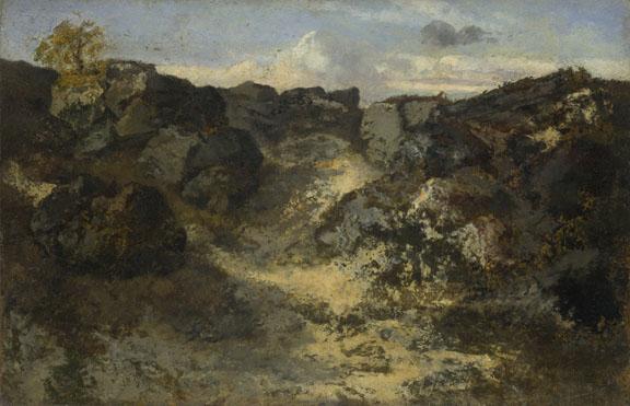 Théodore Rousseau: 'A Rocky Landscape'