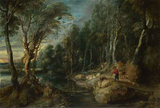 Peter Paul Rubens: 'A Shepherd with his Flock in a Woody Landscape'