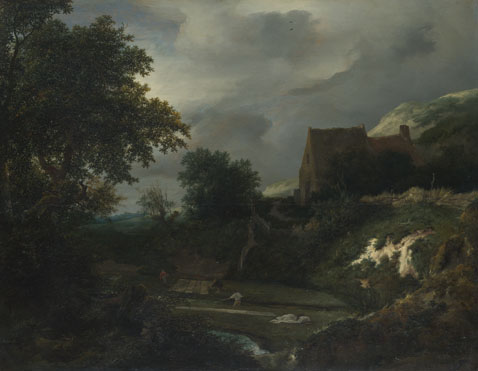 Jacob van Ruisdael: 'A Bleaching Ground in a Hollow by a Cottage'