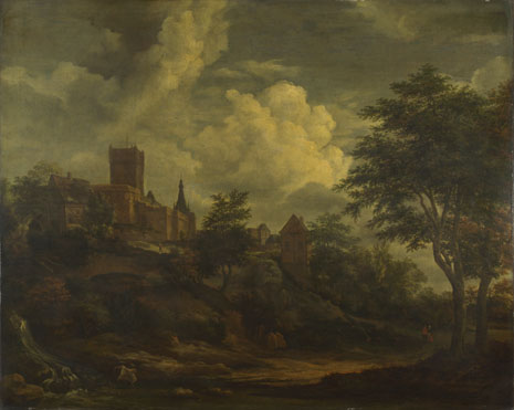 Imitator of Jacob van Ruisdael: 'A Castle on a Hill by a River'