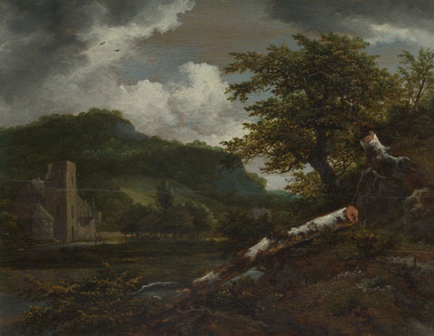 Jacob van Ruisdael: 'A Landscape with a Ruined Building'