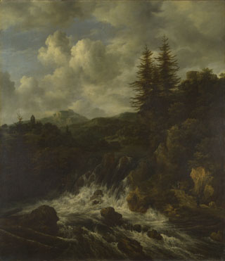 Jacob van Ruisdael: 'A Landscape with a Waterfall and a Castle on a Hill'