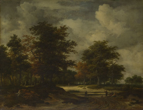 Jacob van Ruisdael: 'A Road leading into a Wood'