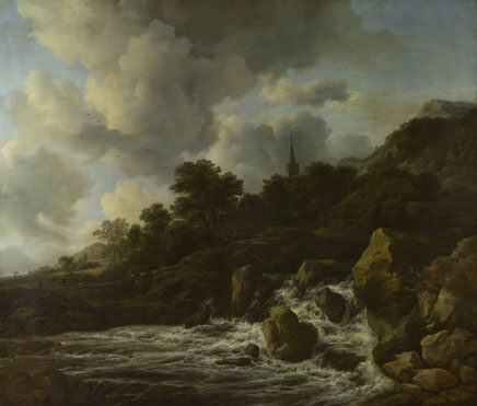 Jacob van Ruisdael: 'A Waterfall at the Foot of a Hill, near a Village'