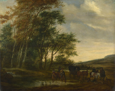 Salomon van Ruysdael: 'A Landscape with a Carriage and Horsemen at a Pool'