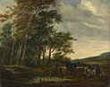 A Landscape with a Carriage and Horsemen at a Pool