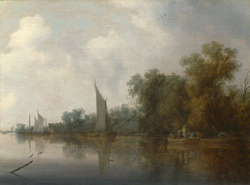 Salomon van Ruysdael: 'A River with Fishermen drawing a Net'