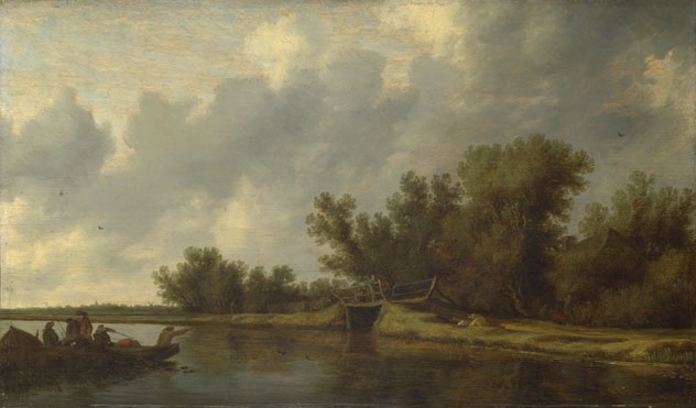 Salomon van Ruysdael: 'A River Landscape with Fishermen'