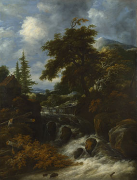 Jacob Salomonsz. van Ruysdael: 'A Waterfall by a Cottage in a Hilly Landscape'