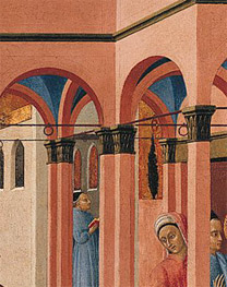 Sassetta: Detail showing capitals from 'Saint Francis renounces his Earthly Father'.