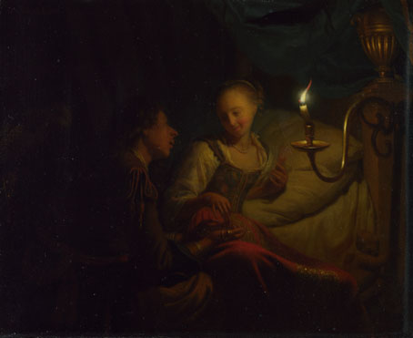 Godfried Schalcken: 'A Man Offering Gold and Coins to a Girl'