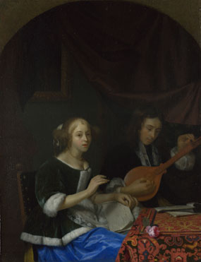 Godfried Schalcken: 'A Woman singing and a Man with a Cittern'