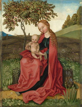 Style of Martin Schongauer: 'The Virgin and Child in a Garden'