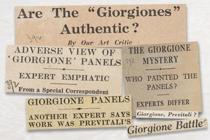A selection of newspaper headlines from the time of 'The Giorgone Controversy'.