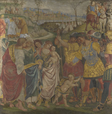 Luca Signorelli: 'Coriolanus persuaded by his Family to spare Rome'