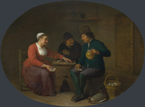Hendrick Sorgh: 'A Woman playing Cards with Two Peasants'