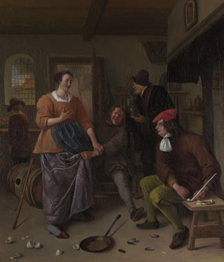 Jan Steen: 'The Interior of an Inn ('The Broken Eggs')'