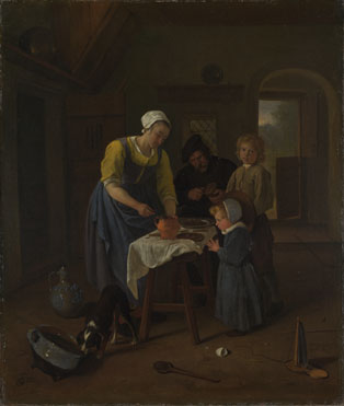 Jan Steen: 'A Peasant Family at Meal-time ('Grace before Meat')'