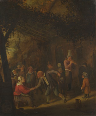 Jan Steen: 'Peasants merry-making outside an Inn'