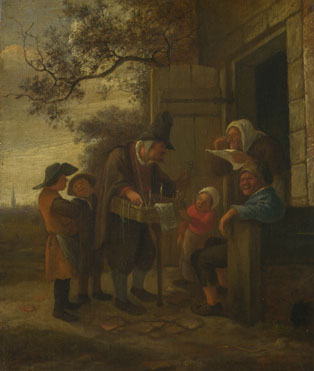 Jan Steen: 'A Pedlar selling Spectacles outside a Cottage'