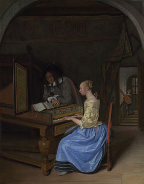 Jan Steen: 'A Young Woman playing a Harpsichord to a Young Man'
